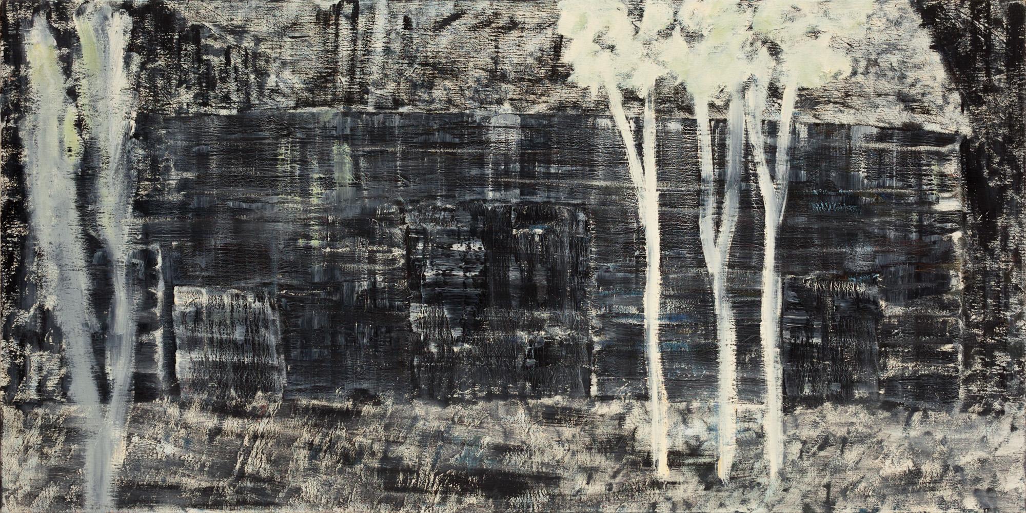 Titel onbekend (LO-05), olieverf op linnen, 200 x 100 cm, Nico Bakker