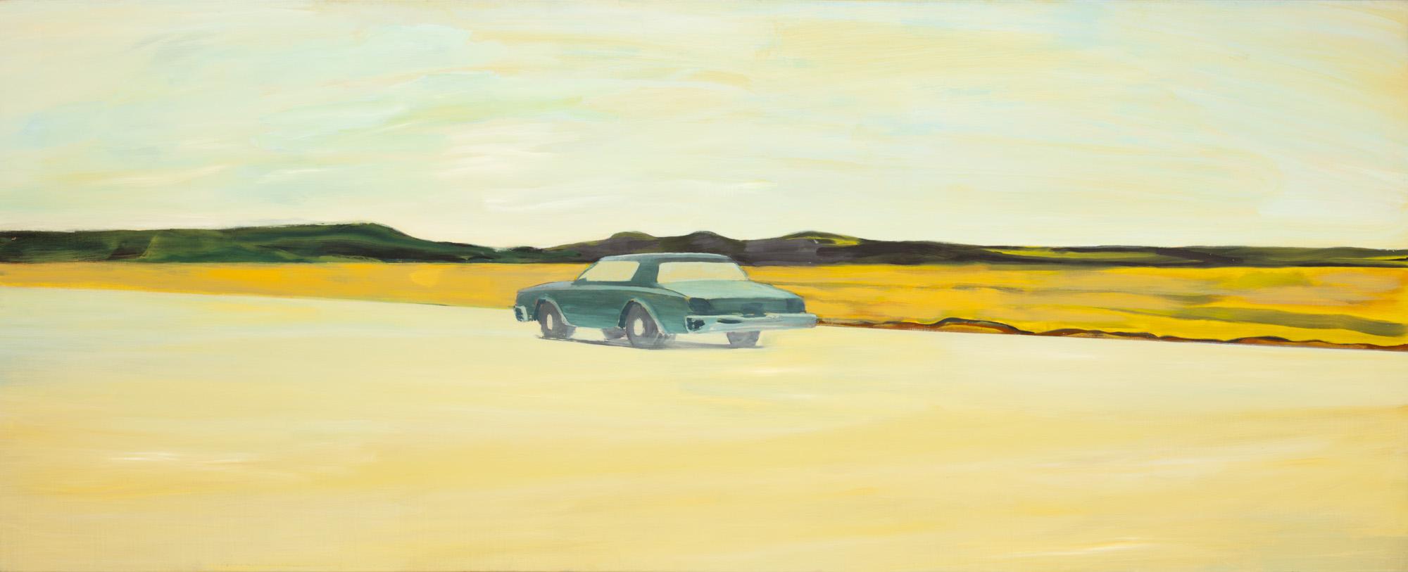 Located vehicle, olieverf op linnen, 320 x 130 cm, Nico Bakker