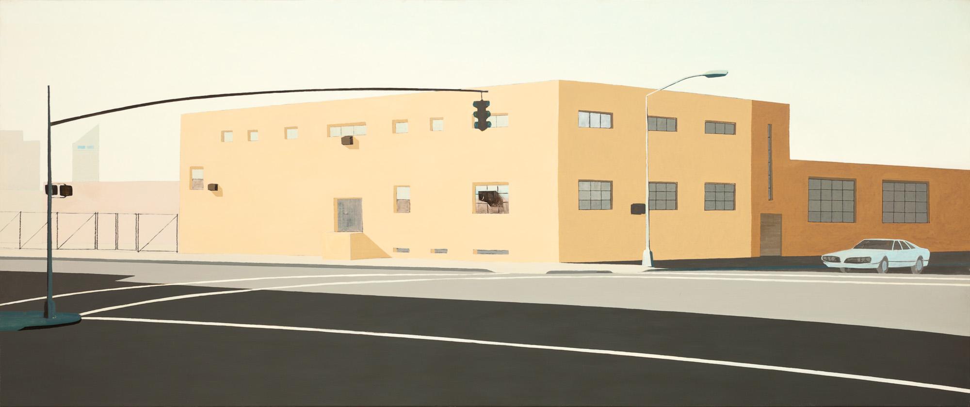 The brightness of traffic lights after sunrise, olieverf op linnen, 310 x 130 cm, Nico Bakker