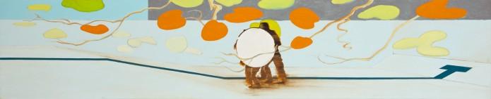 Drained pool, olieverf op linnen, 370 x 75 cm, Nico Bakker