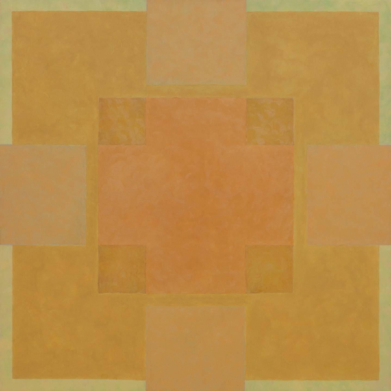 Titel onbekend (SQ-01), olieverf op multiplex, 63 x 63cm, by Nico Bakker